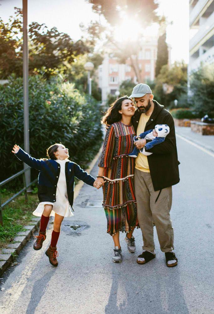 reportaje familia en calle
